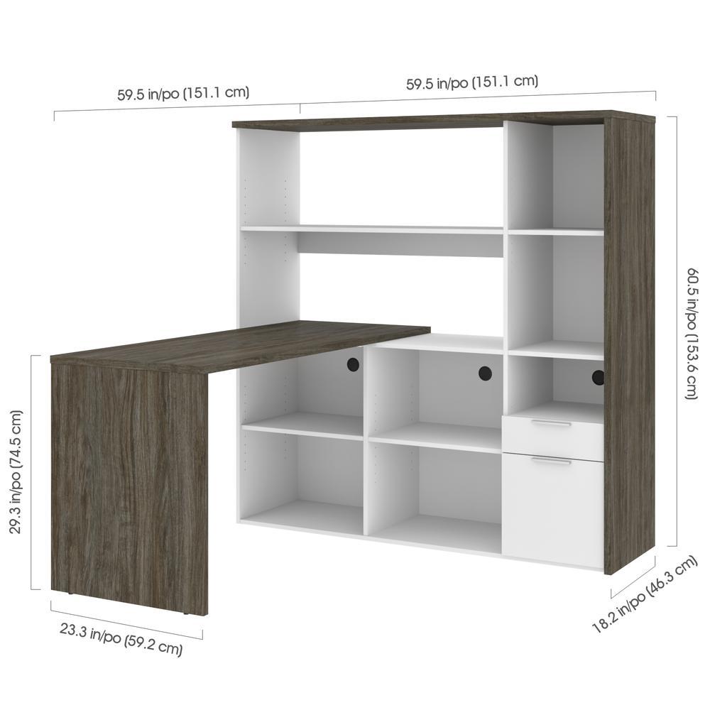 Bestar Gemma L-Shaped Desk - Walnut Grey & White. Picture 6