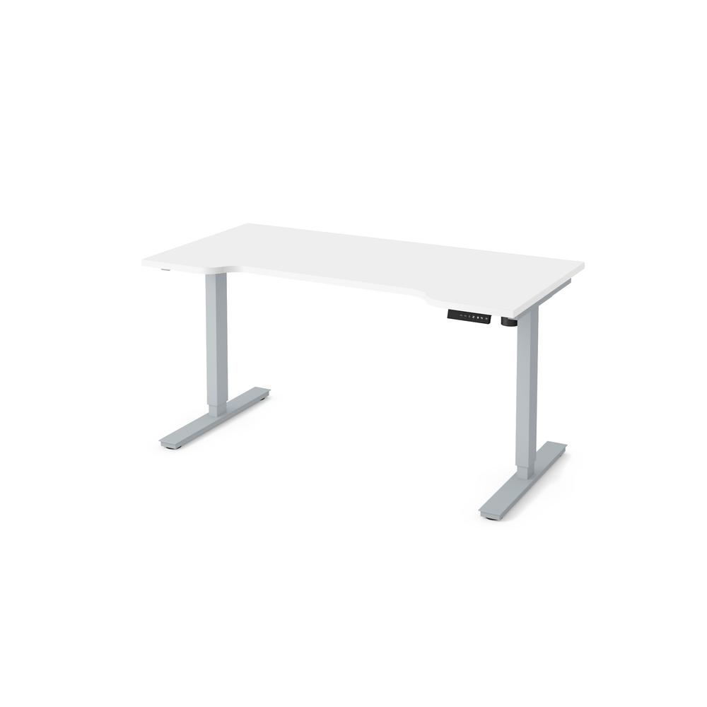 """Bestar 30"""" x 60"""" Curved Electric Height adjustable table in White"""