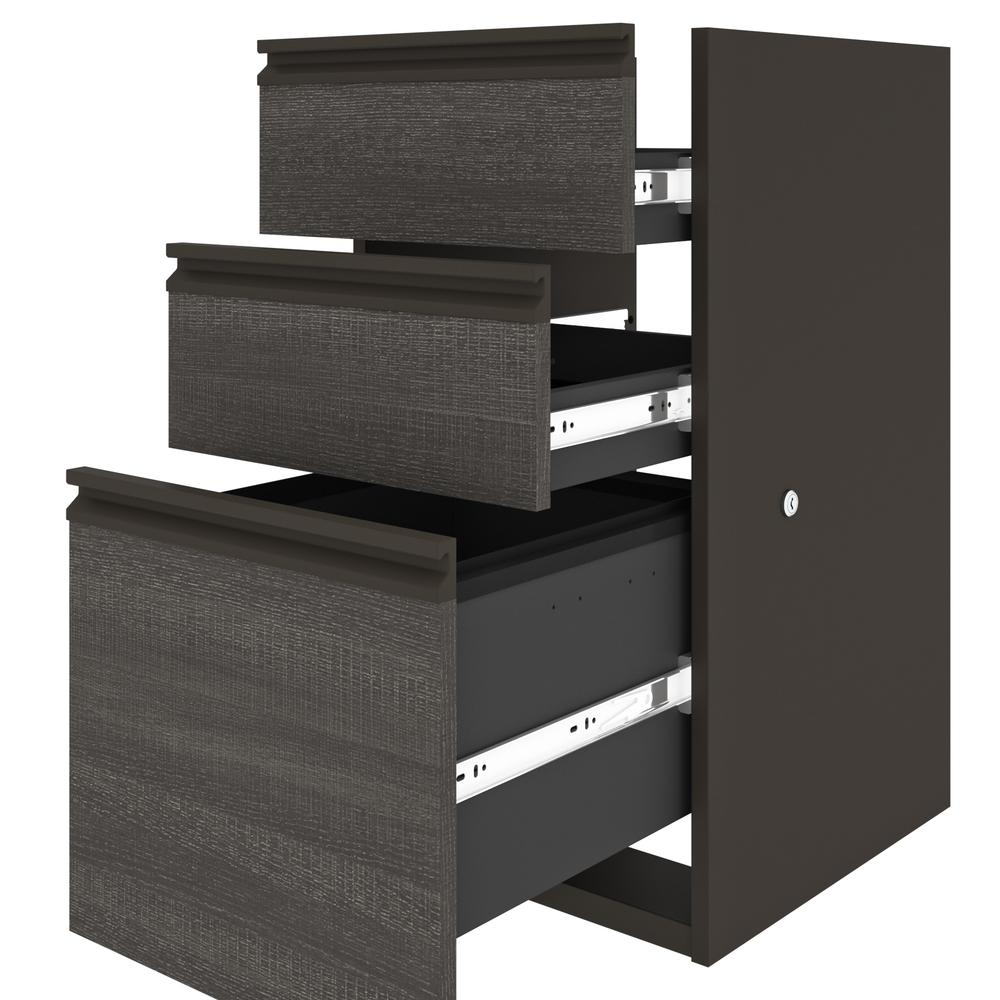 Prestige + L-shaped workstation including one pedestal in Bark Gray & Slate