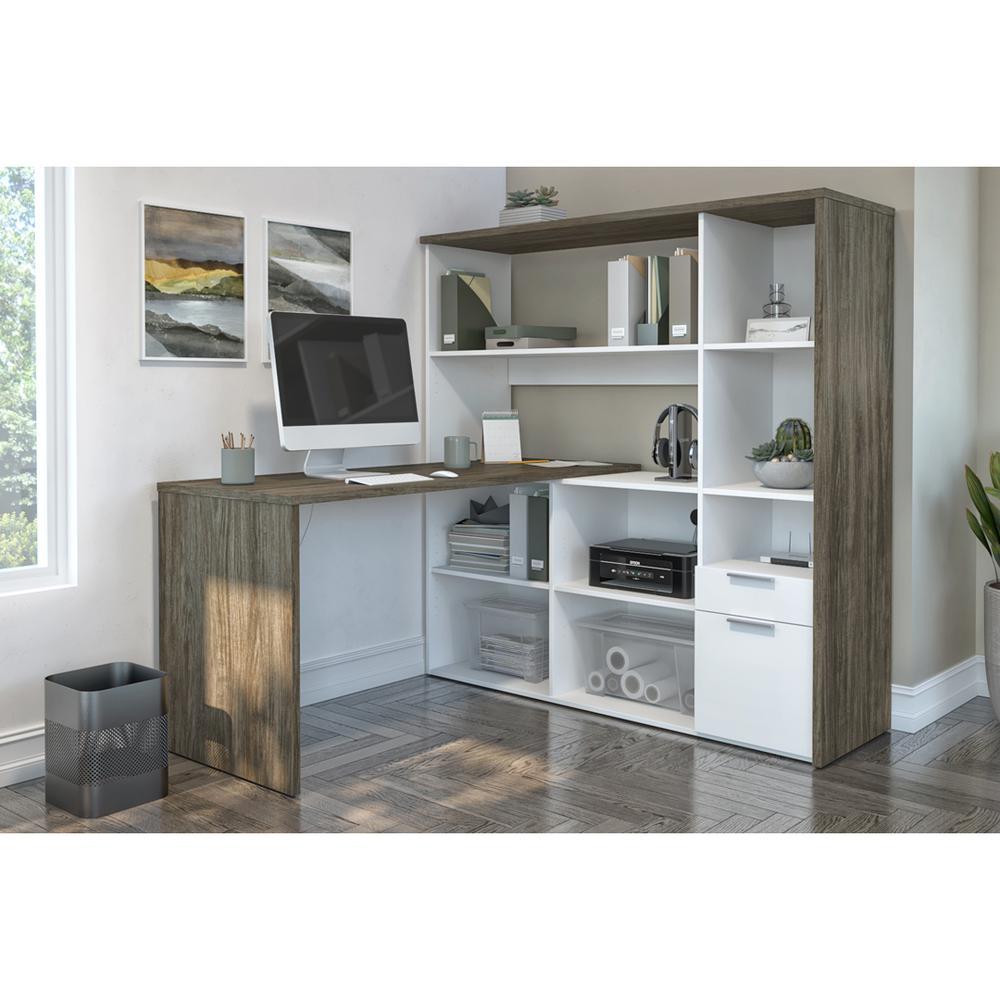 Bestar Gemma L-Shaped Desk - Walnut Grey & White. Picture 4
