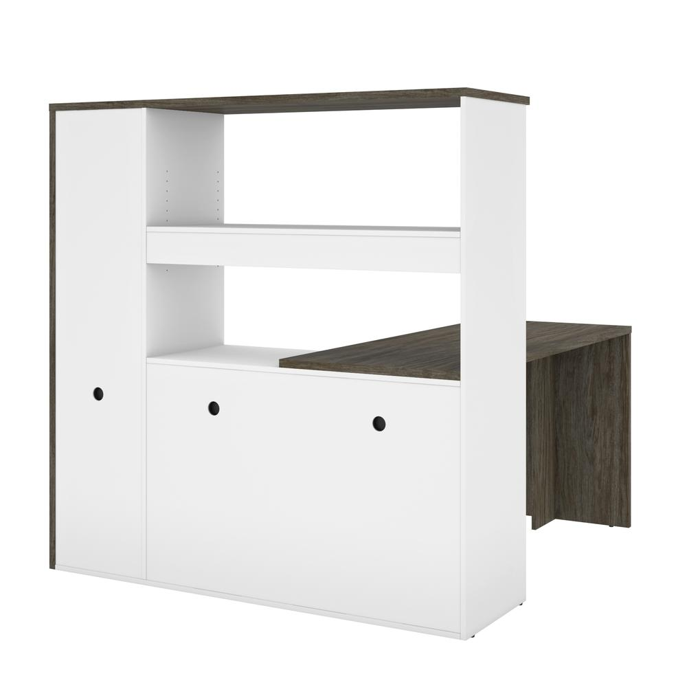 Bestar Gemma L-Shaped Desk - Walnut Grey & White. Picture 3