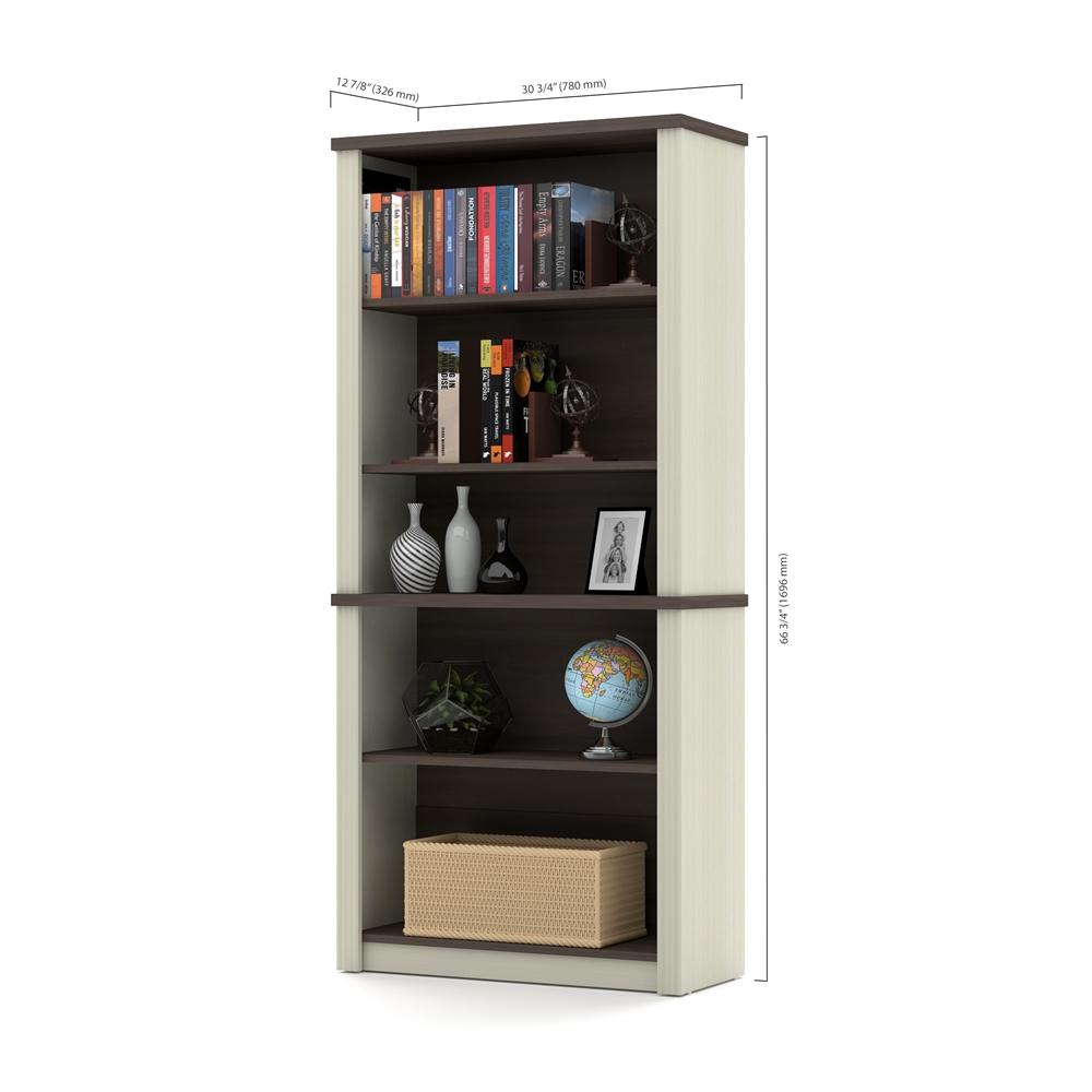 Prestige modular bookcase in White Chocolate & Antigua