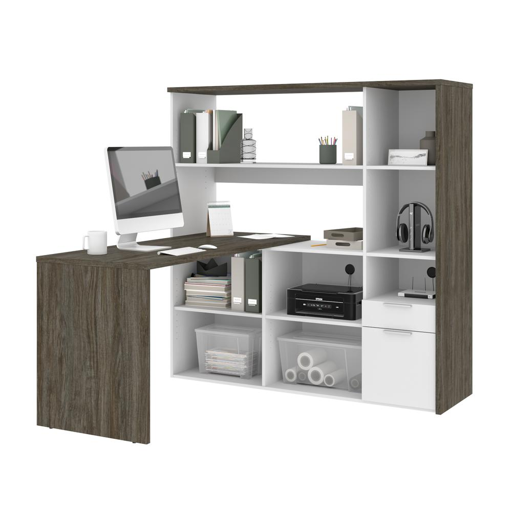 Bestar Gemma L-Shaped Desk - Walnut Grey & White. Picture 1
