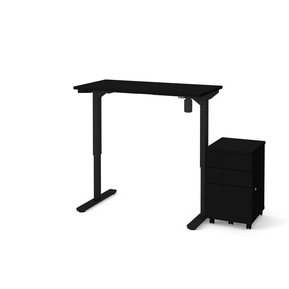 Bestar 2 Piece Adjustable Table and Filing Cabinet in Black. Picture 2