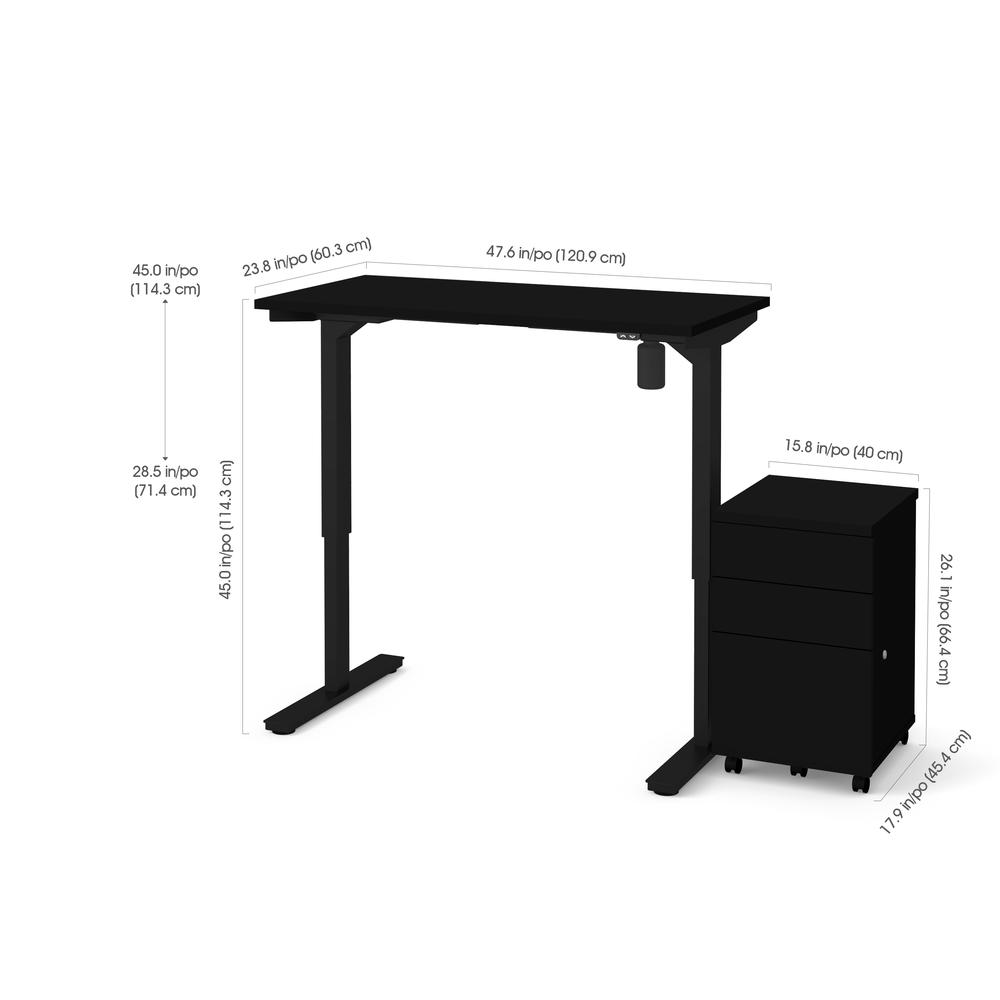 Bestar 2 Piece Adjustable Table and Filing Cabinet in Black. Picture 1