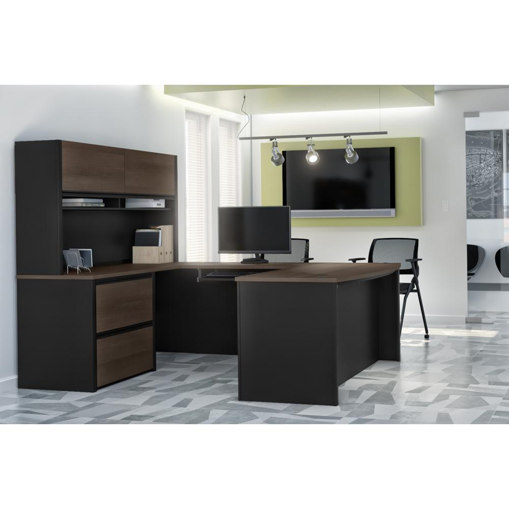 Connexion U-shaped workstation in Antigua & Black. Picture 3