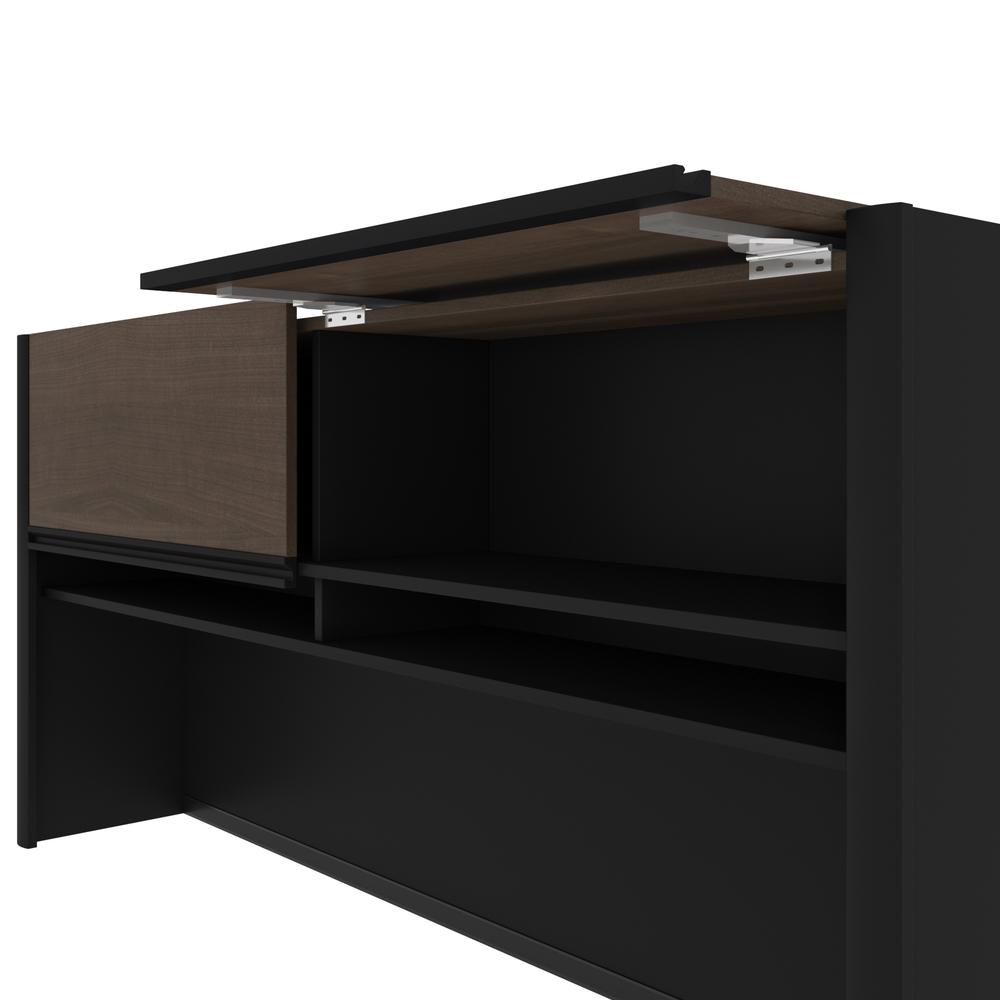 Connexion U-shaped workstation in Antigua & Black. Picture 10
