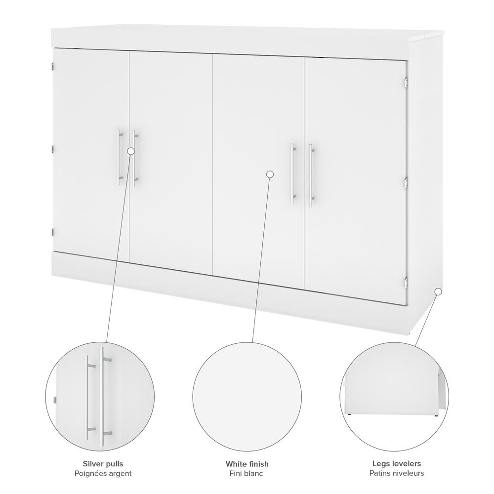 Nebula Queen Cabinet Bed With Mattress In White