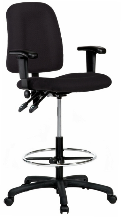 Contoured Drafting Chair With Adjustable Arms Black Fabric