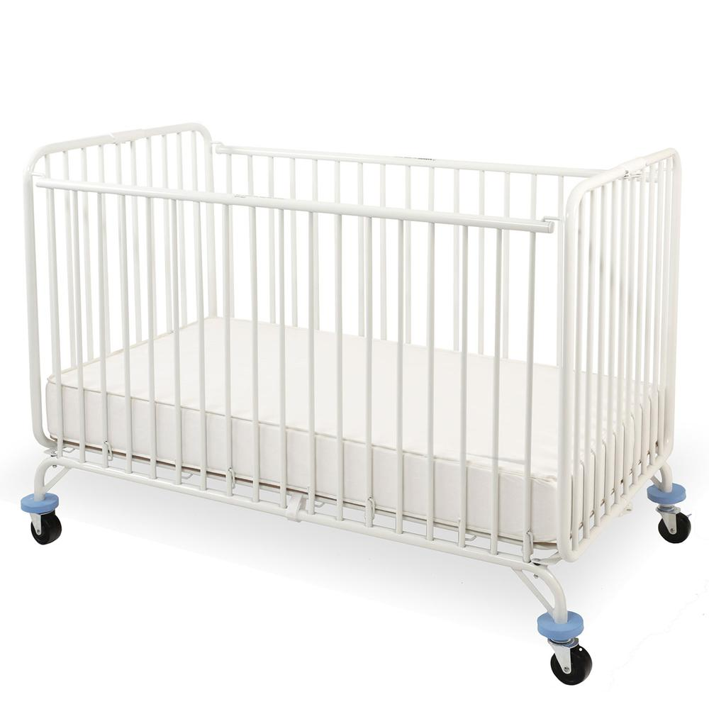 Full Size Metal Holiday Crib, White. Picture 1