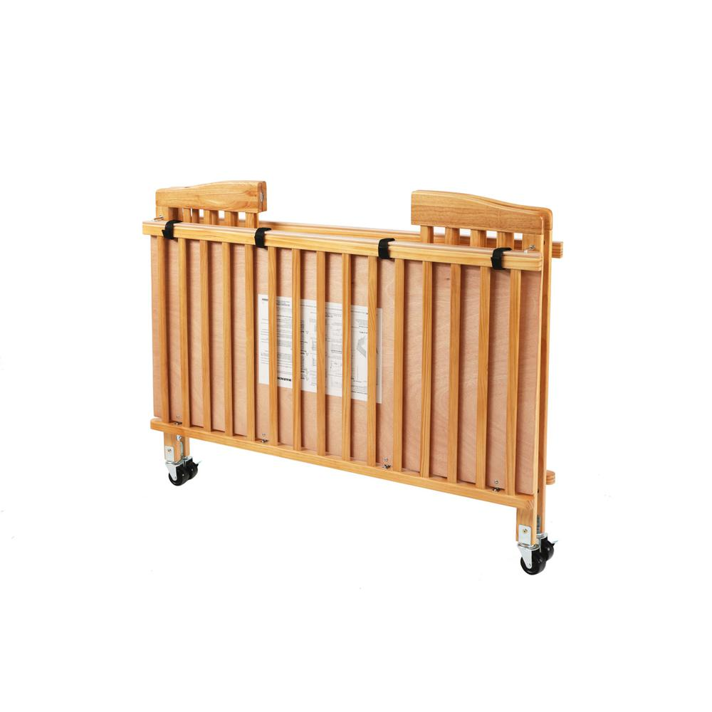 The Full Size Wood Folding Crib-Natural, Natural. Picture 3