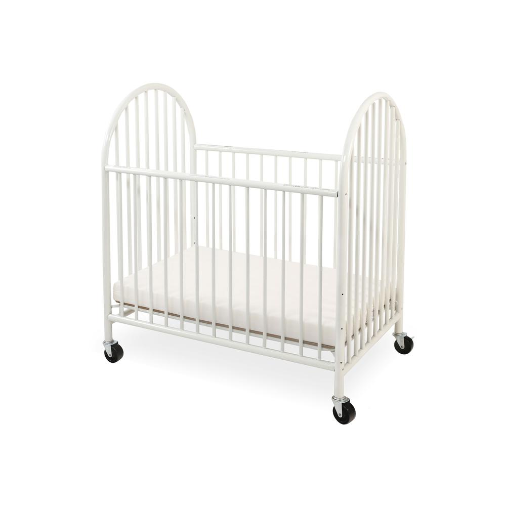 Arched Metal Compact Crib, White. Picture 1