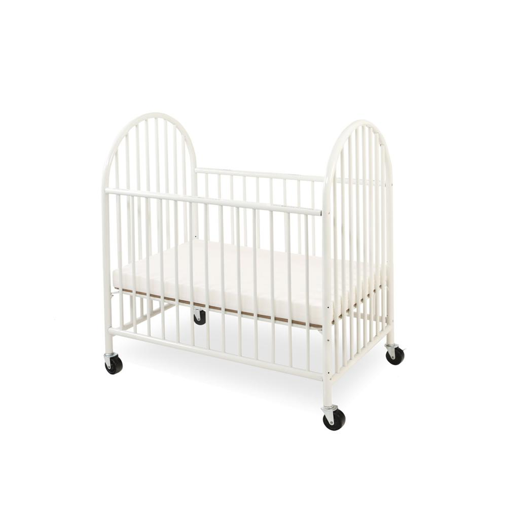 Arched Metal Compact Crib, White. Picture 2