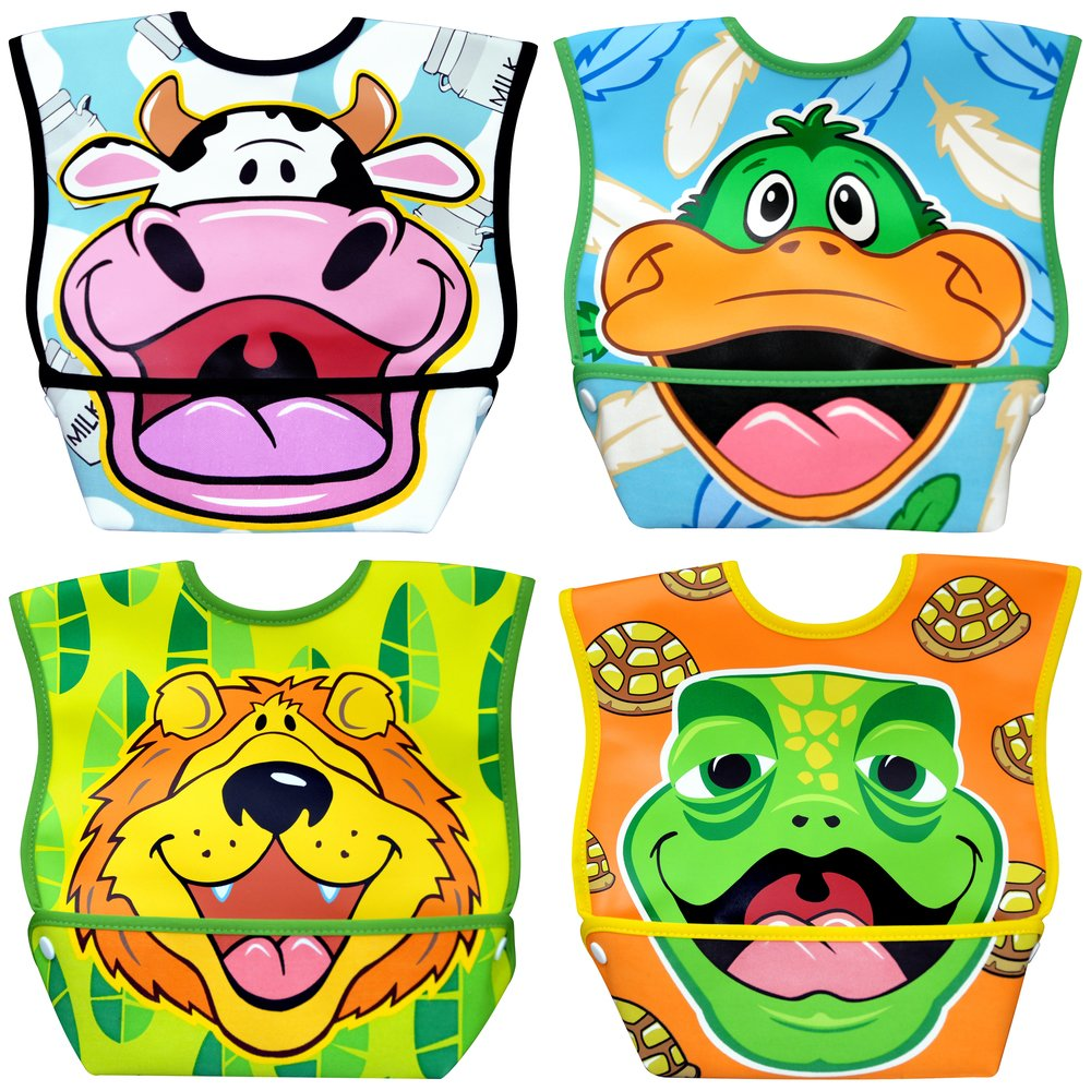 Dexbaby Waterproof Dura-Bib Big Mouth LARGE, Patented Catch-All Pocket, 4-Pack (Lion, Cow, Duck, Turtle). Picture 1