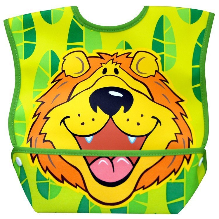 Dexbaby Waterproof Dura-Bib Big Mouth LARGE, Patented Catch-All Pocket, 4-Pack (Lion, Cow, Duck, Turtle). Picture 4