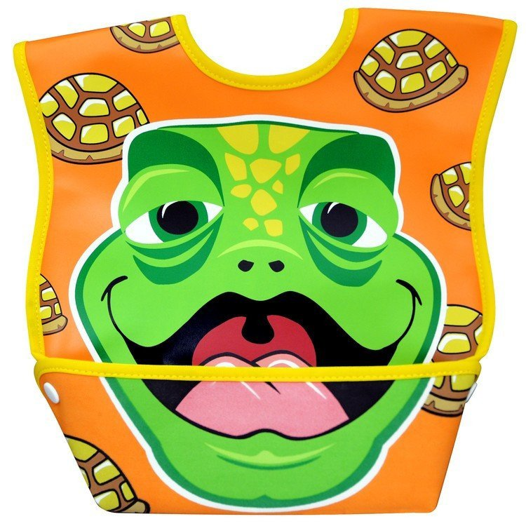 Dexbaby Waterproof Dura-Bib Big Mouth LARGE, Patented Catch-All Pocket, 4-Pack (Lion, Cow, Duck, Turtle). Picture 5
