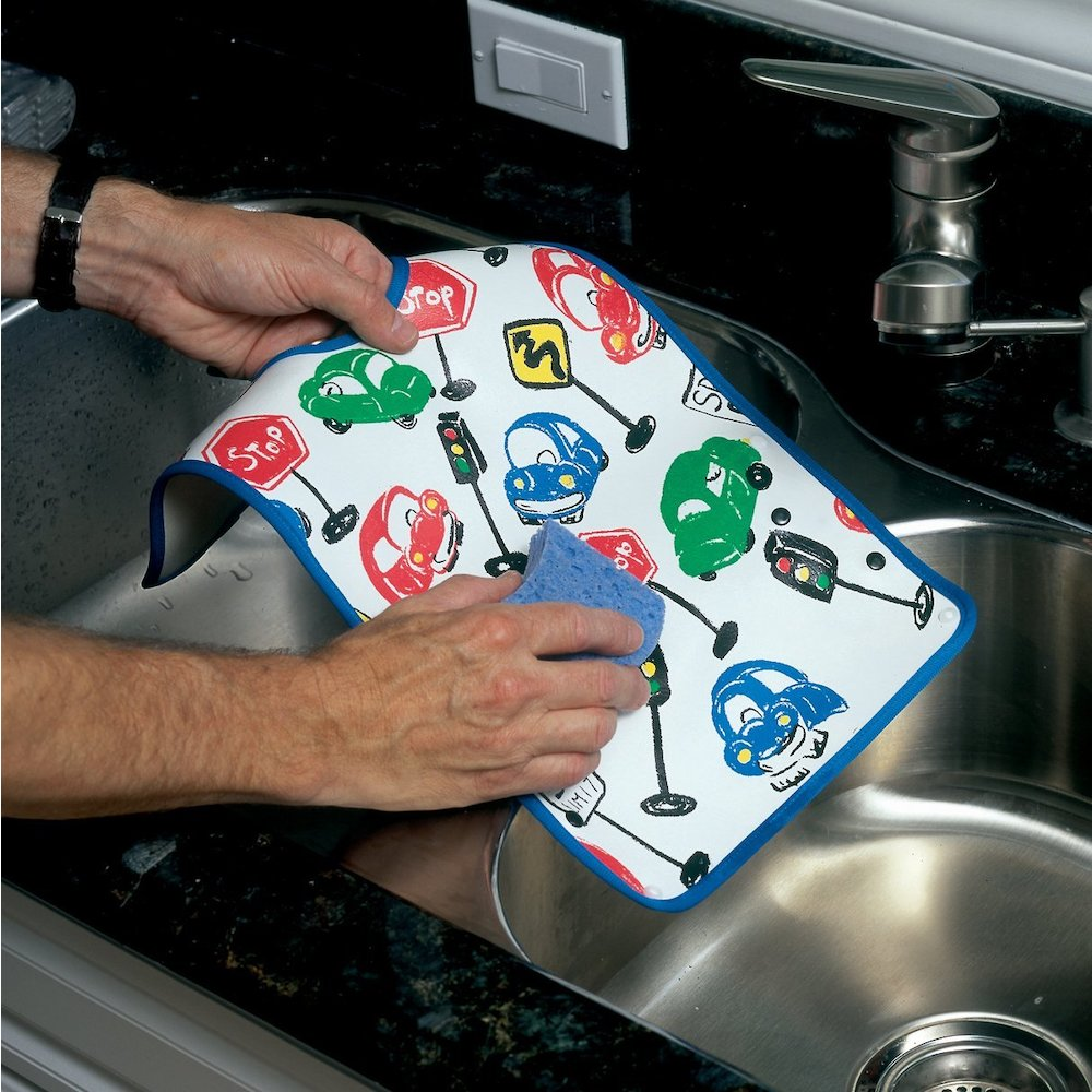 Dexbaby Waterproof Dura-Bib Big Mouth LARGE, Patented Catch-All Pocket, 4-Pack (Lion, Cow, Duck, Turtle). Picture 7