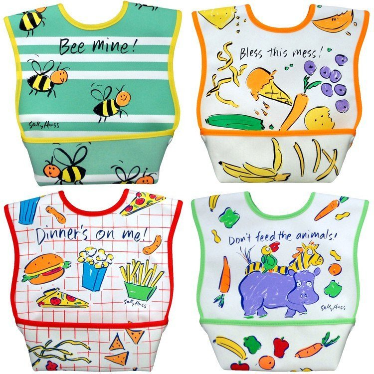 Dexbaby Waterproof Dura-Bib Large, Patented Catch-All Pocket, 4-Pack. Picture 1