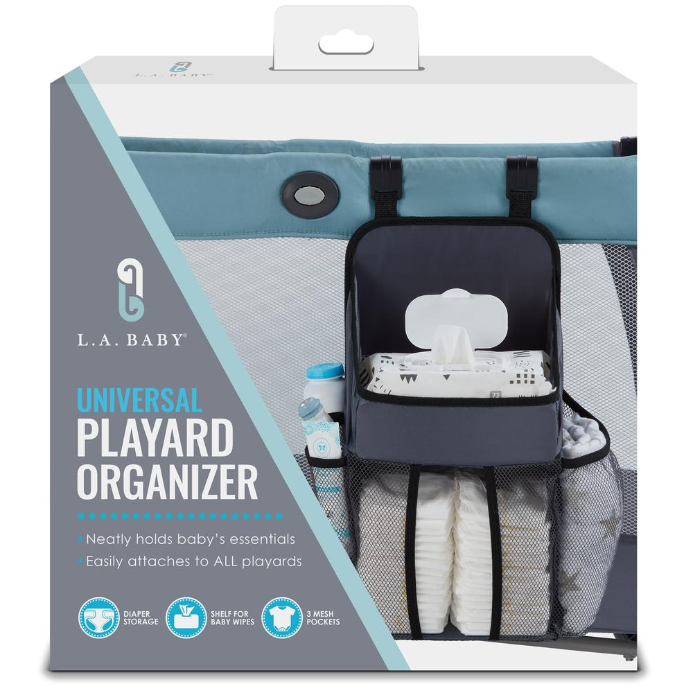 Universal Playard Nursery Organizer and Diapers Organizer | Baby Diaper Caddy for Baby's Essentials - Gray. Picture 3
