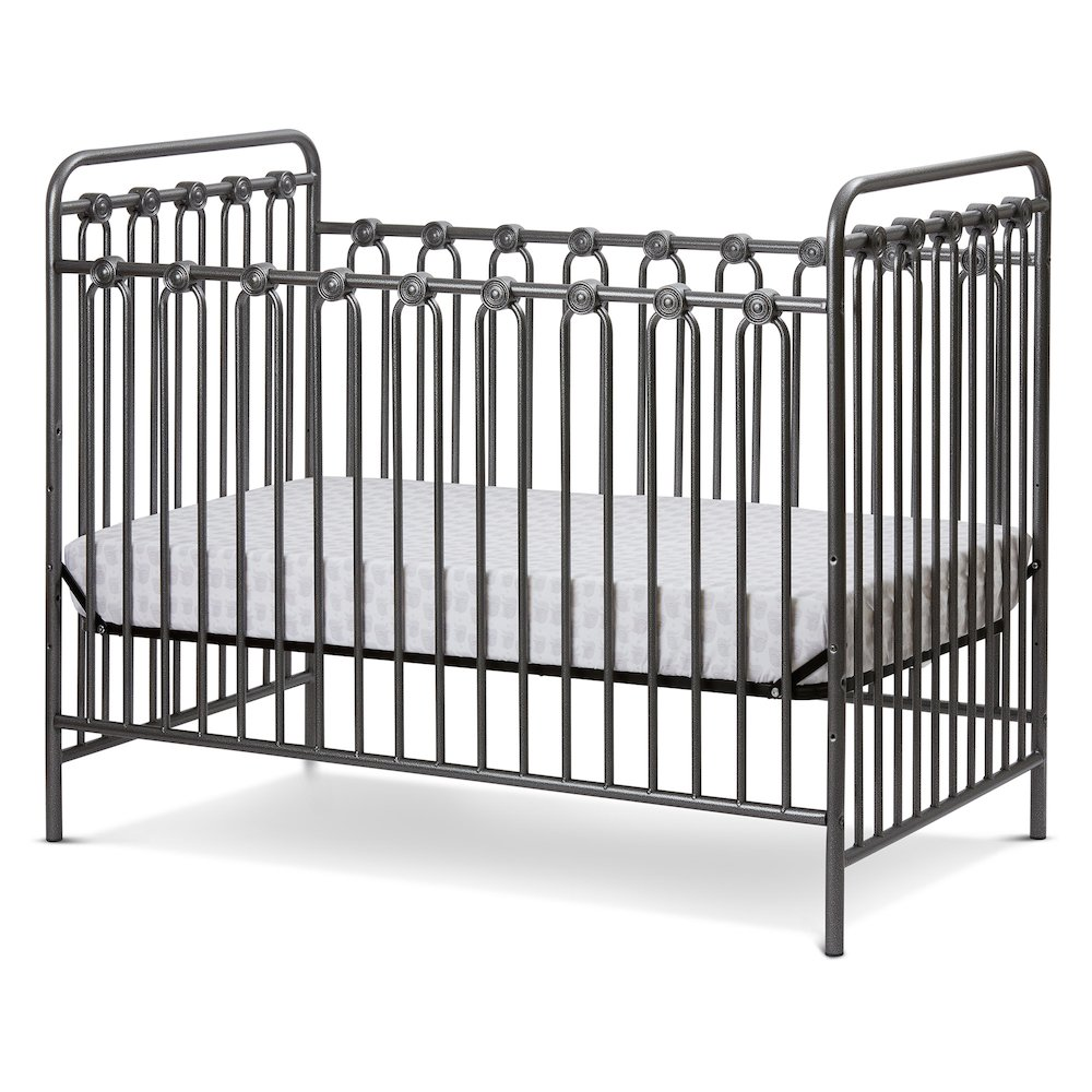 Napa 3 in 1 Convertible Full Sized Metal Crib in Pebble Grey. Picture 1