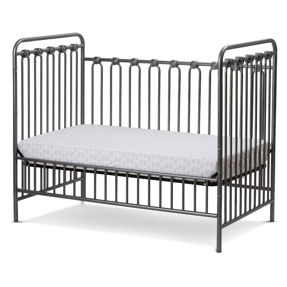 Napa 3 in 1 Convertible Full Sized Metal Crib in Pebble Grey. Picture 3