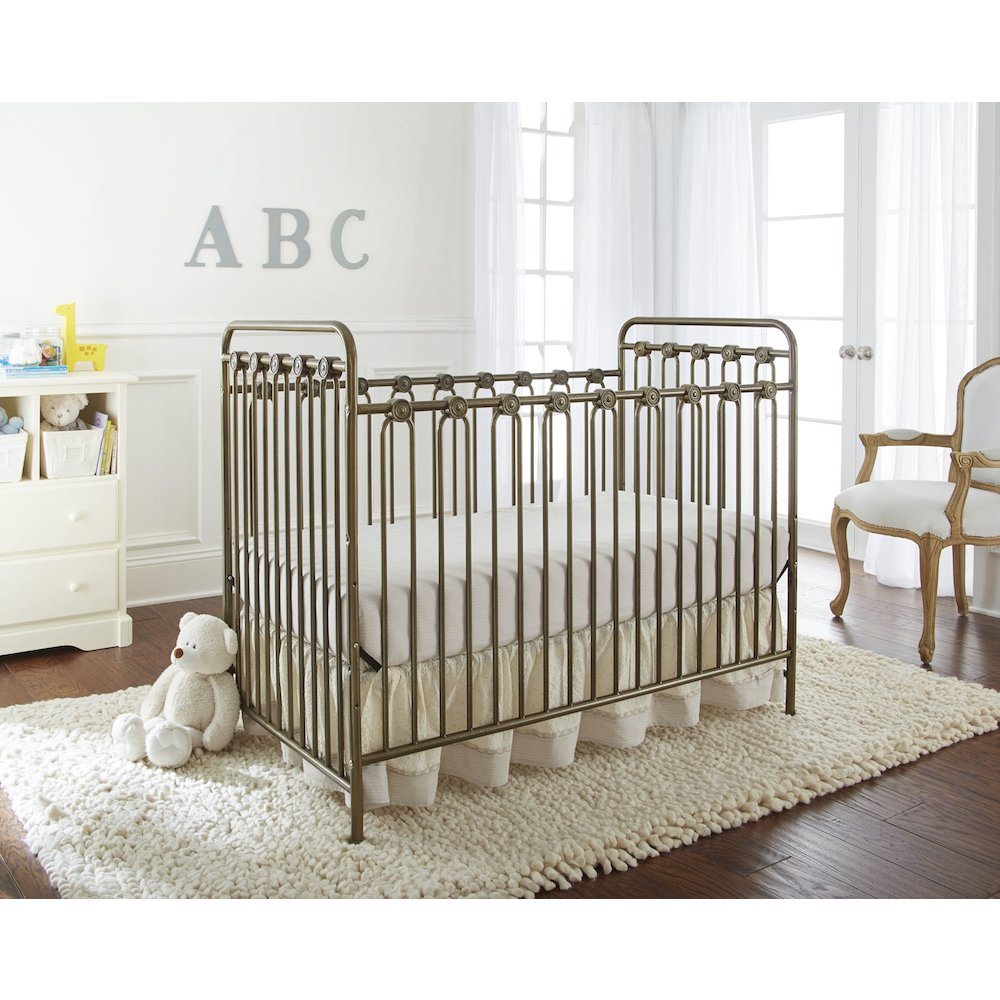 Napa 3 in 1 Convertible Full Sized Metal Crib in Pebble Grey. Picture 4
