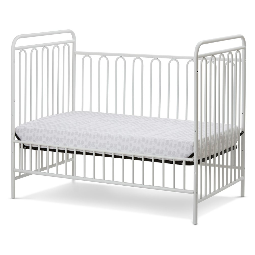 Trinity 3 in 1 Convertible Full Sized Metal Crib in Alabaster White. Picture 3