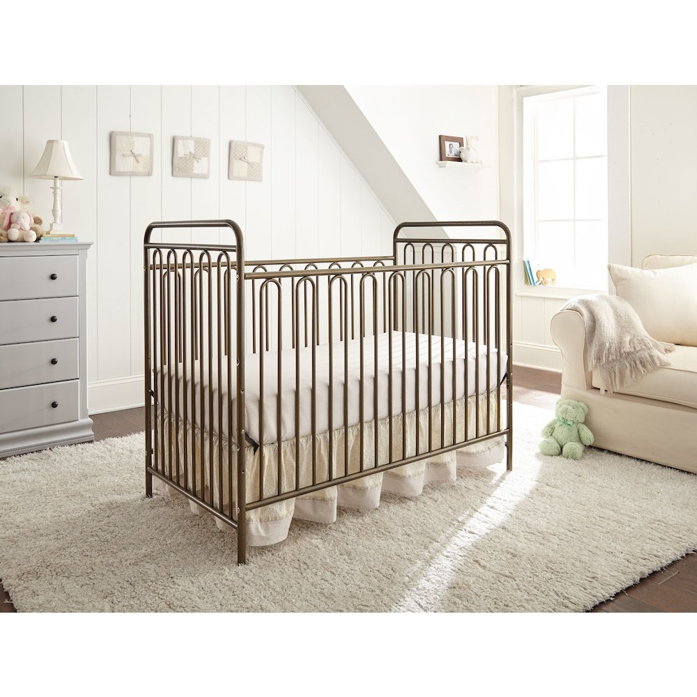 Trinity 3 in 1 Convertible Full Sized Metal Crib in Alabaster White. Picture 4