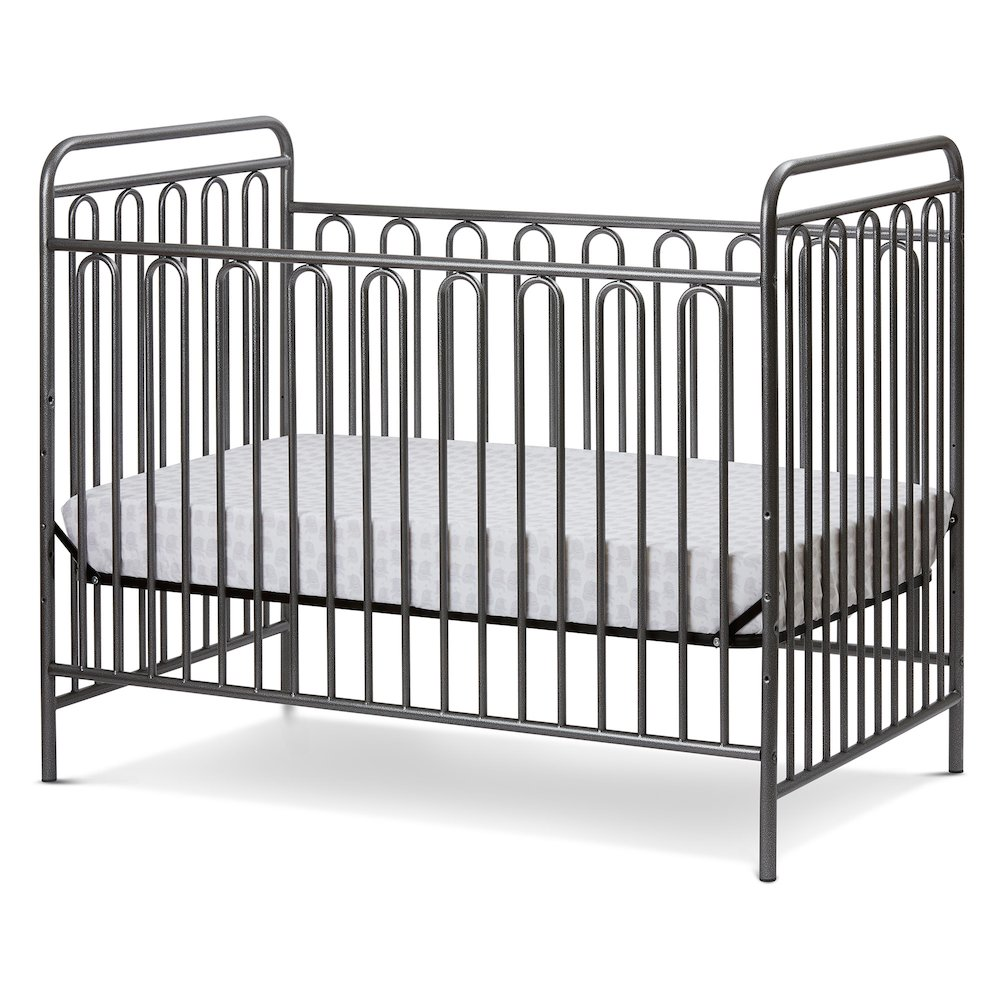 Trinity 3 in 1 Convertible Full Sized Metal Crib in Pebble Grey. Picture 1