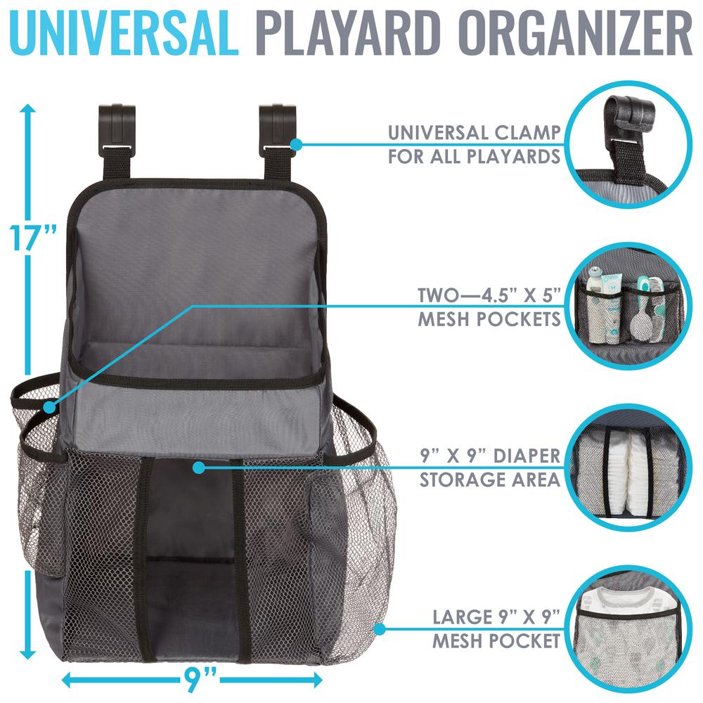 Universal Playard Nursery Organizer and Diapers Organizer | Baby Diaper Caddy for Baby's Essentials - Gray. Picture 4