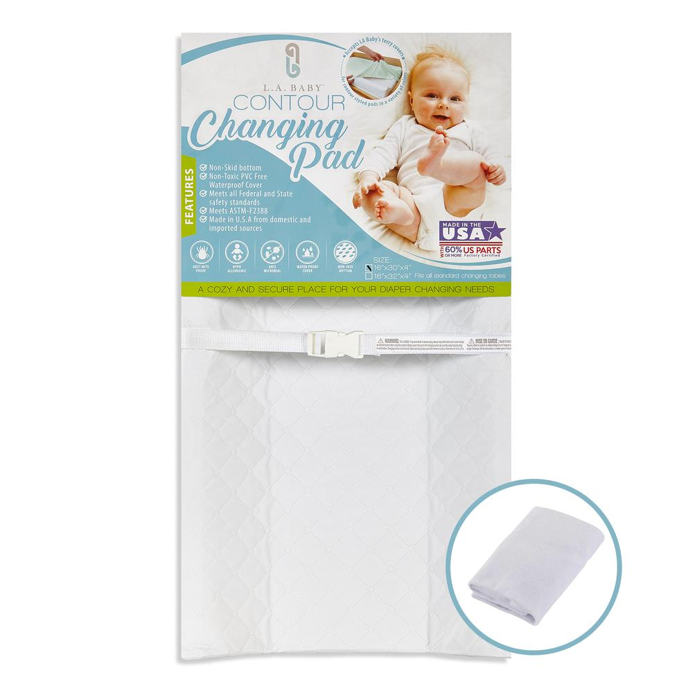 LA Baby Combo Pack with 30'' Contour Changing Pad and White Terry Cover, White. Picture 1