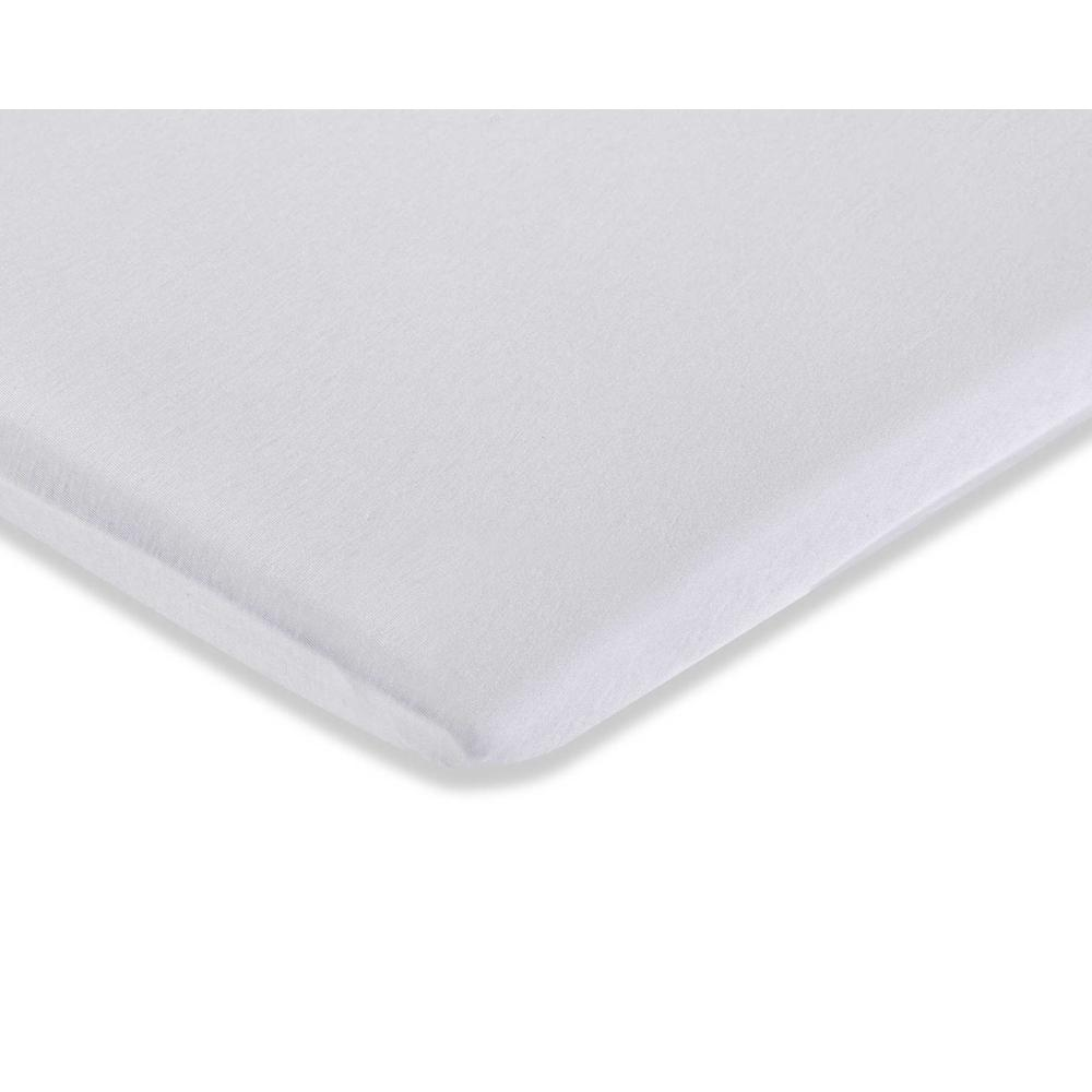Knitted Fitted Sheet for Compact Crib Mattress Natural 100% Cotton Fabric, White. Picture 2