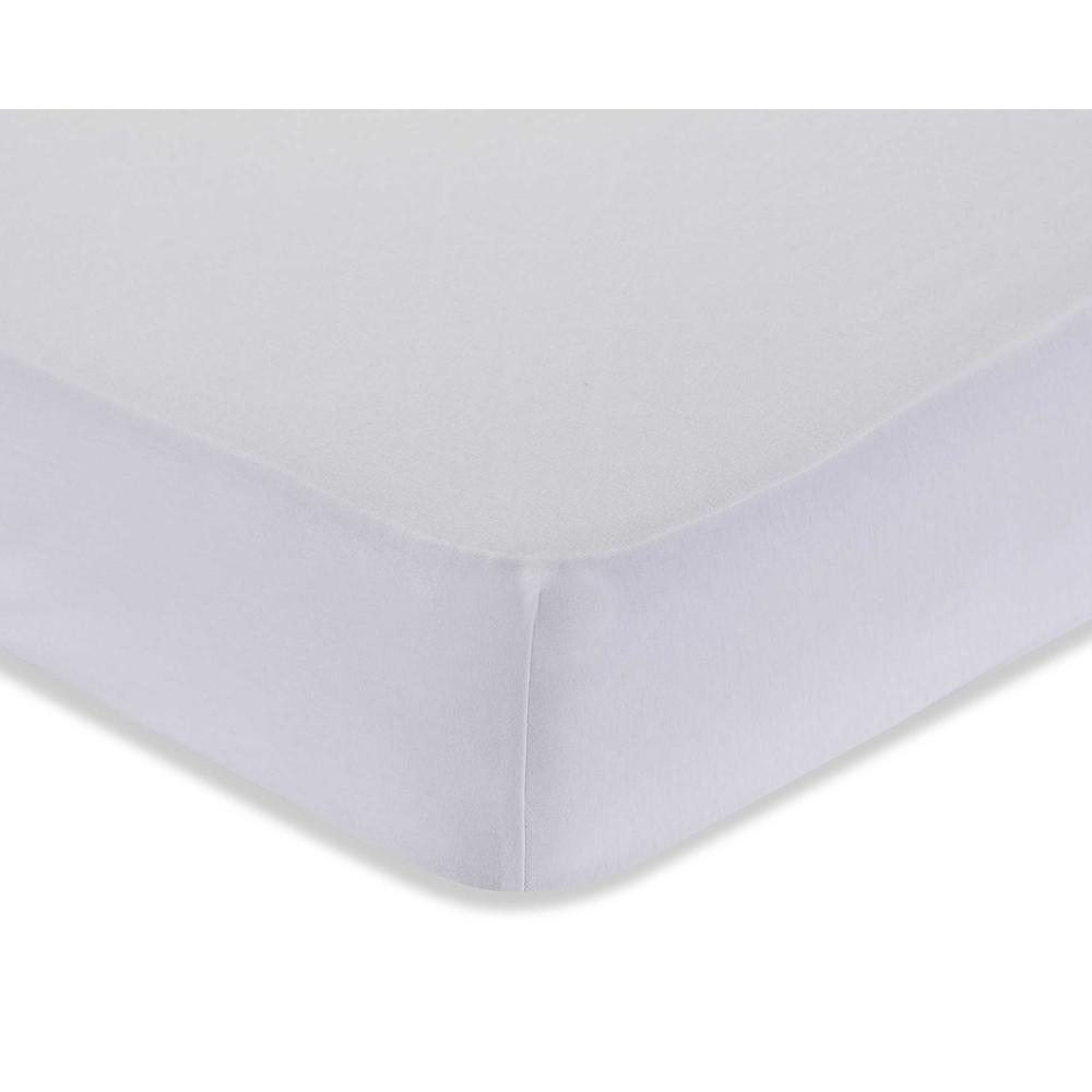Knitted Fitted Sheet for Full Size Crib Natural Mattress 100% Cotton Fabric, White. Picture 2
