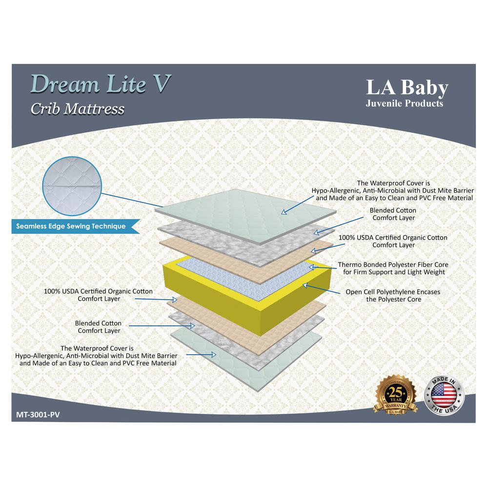 Dream Lite V Crib Mattress with Organic Cotton Layer and Seamless Edge. Picture 2
