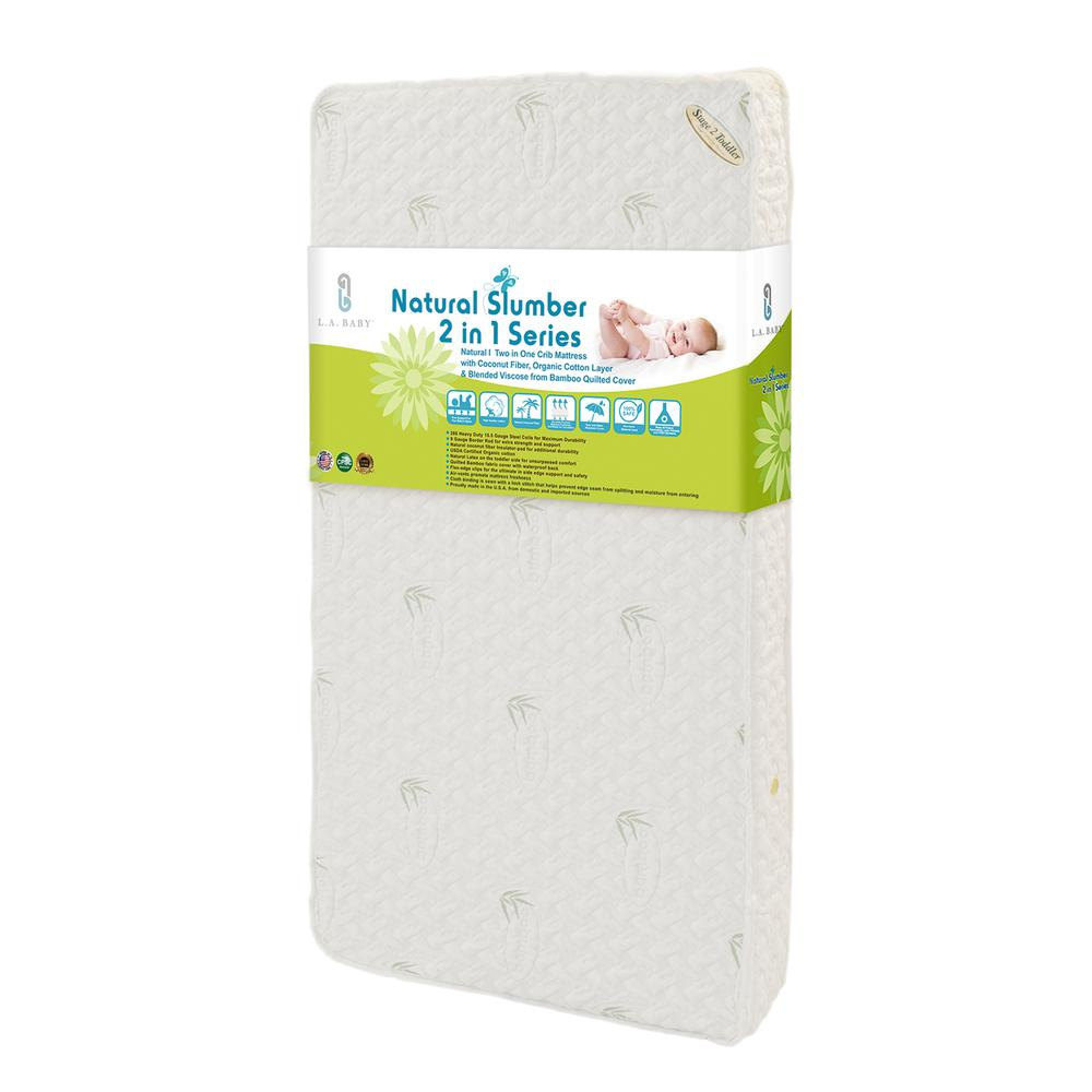 Natural I  2 in 1 Crib Mattress with Coconut Fiber, Organic Cotton Layer & Blended Viscose from Bamboo Quilted Cover. Picture 1