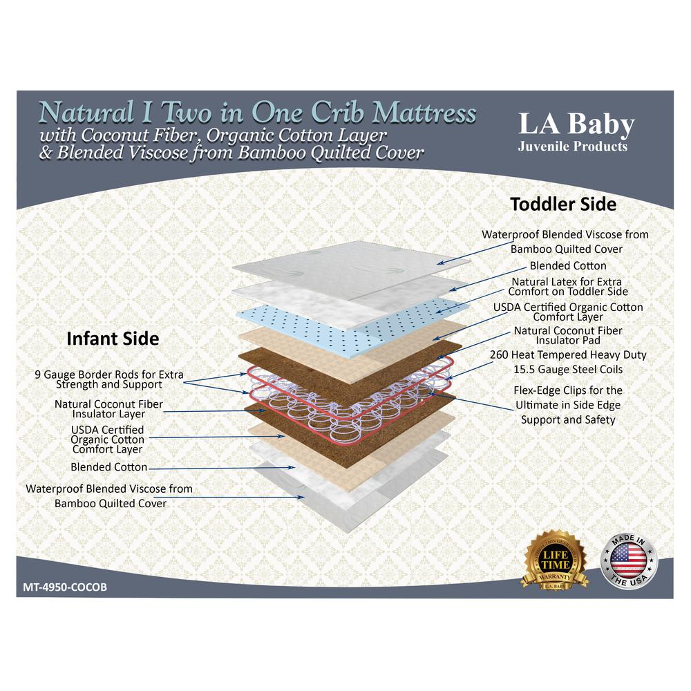 Natural I  2 in 1 Crib Mattress with Coconut Fiber, Organic Cotton Layer & Blended Viscose from Bamboo Quilted Cover. Picture 2