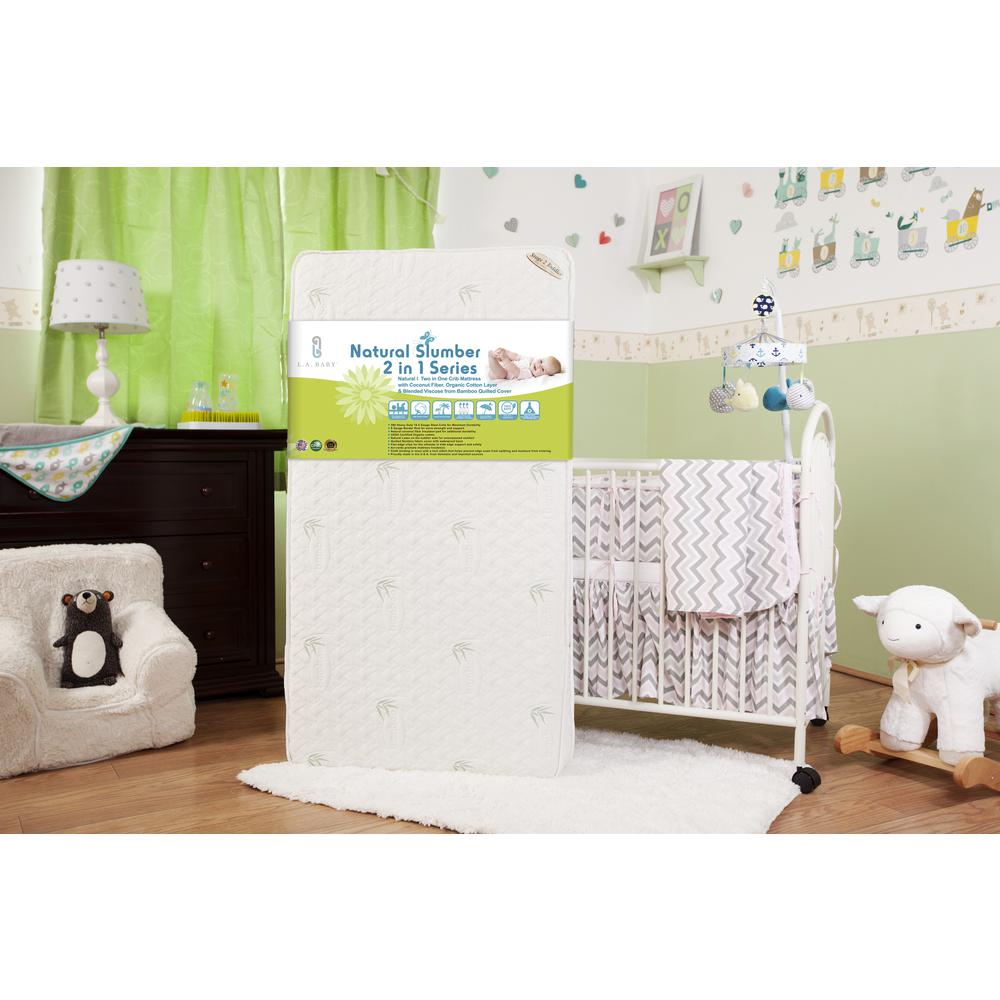 Natural I  2 in 1 Crib Mattress with Coconut Fiber, Organic Cotton Layer & Blended Viscose from Bamboo Quilted Cover. Picture 3