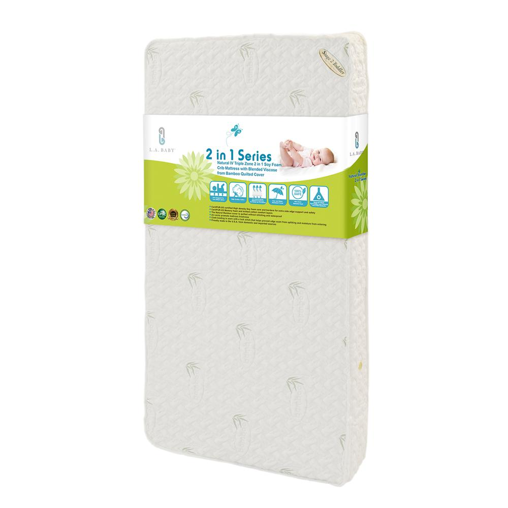 Natural IV Triple Zone 2 in 1 Soy Foam Crib Mattress with Blended Viscose from Bamboo Quilted Cover. Picture 1
