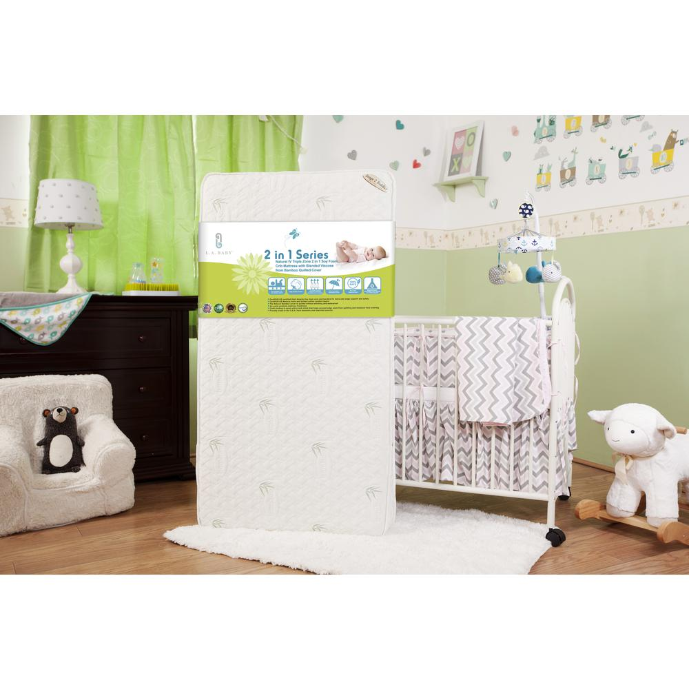 Natural IV Triple Zone 2 in 1 Soy Foam Crib Mattress with Blended Viscose from Bamboo Quilted Cover. Picture 3