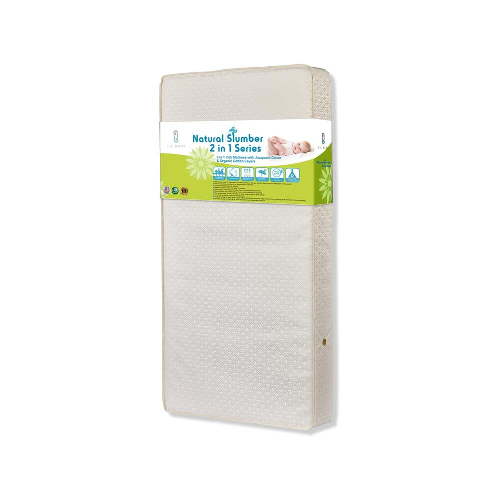 2 in 1 Crib Mattress with Jacquard Cover & Organic Cotton Layers. Picture 1