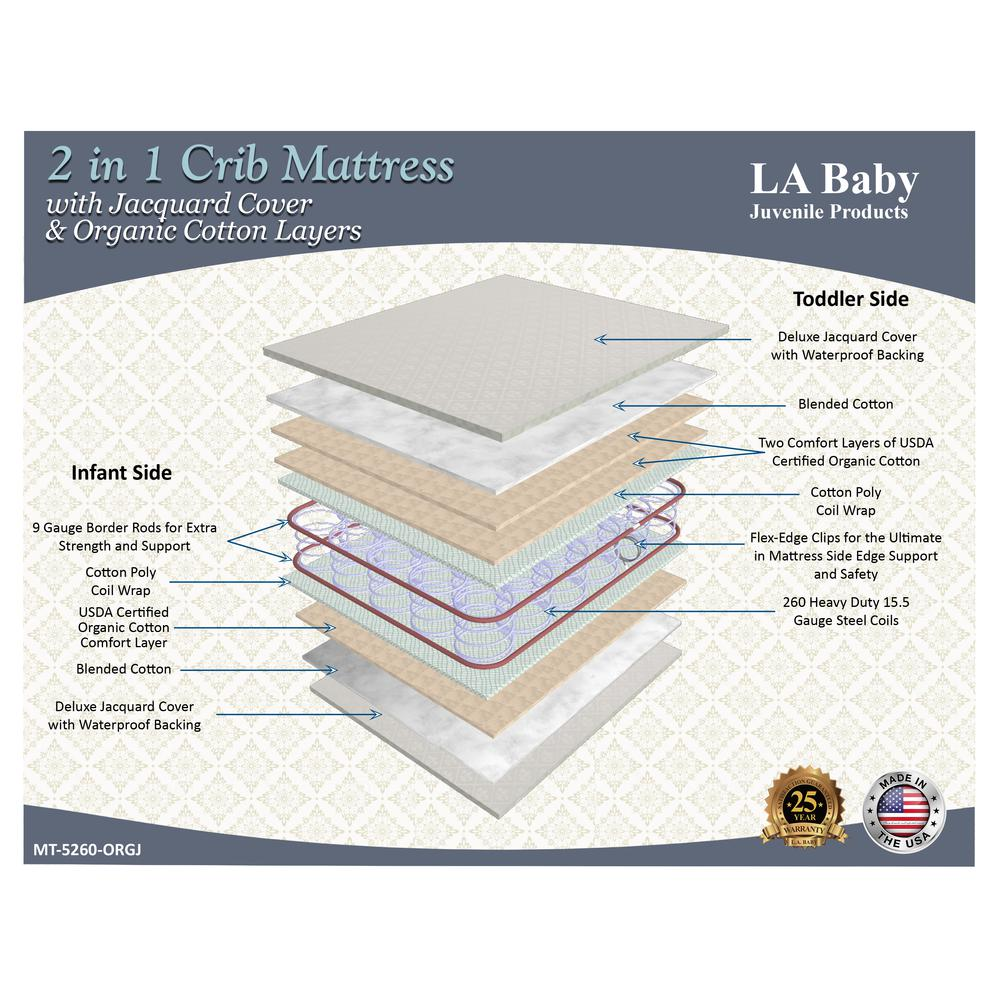 2 in 1 Crib Mattress with Jacquard Cover & Organic Cotton Layers. Picture 2