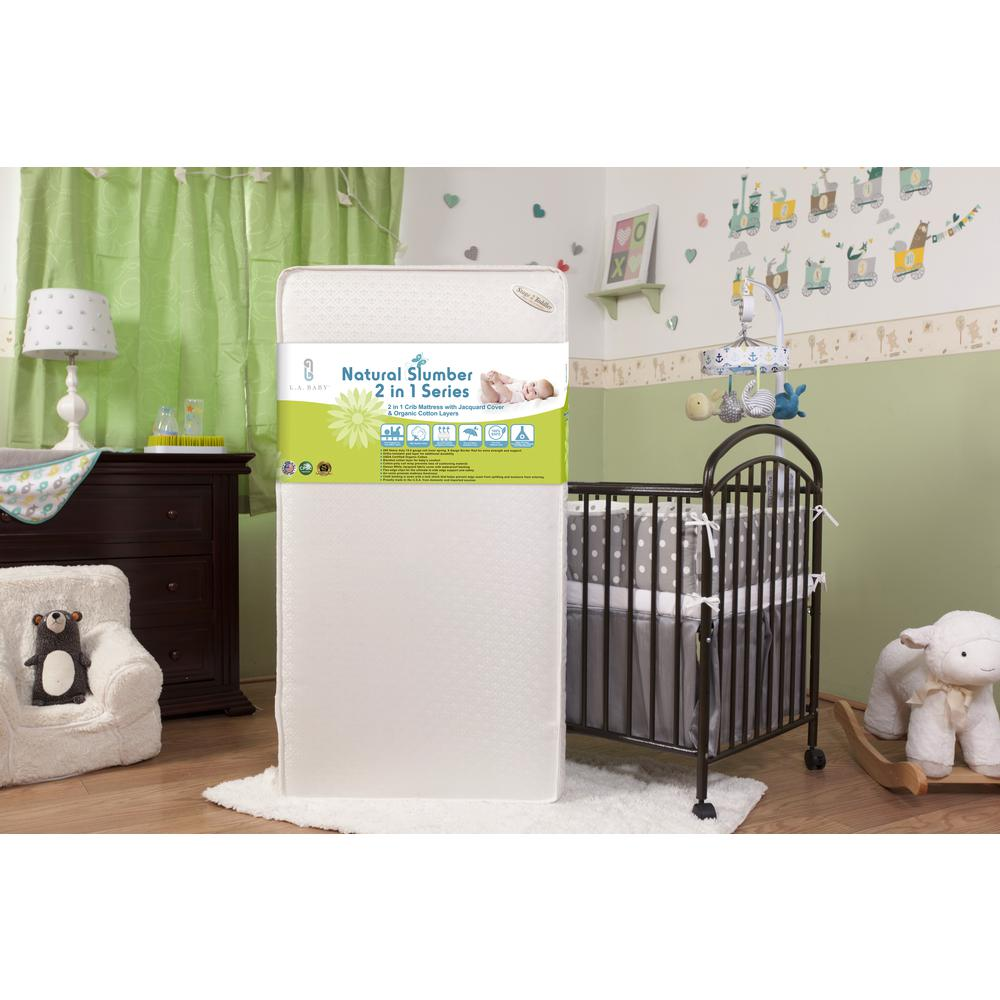 2 in 1 Crib Mattress with Jacquard Cover & Organic Cotton Layers. Picture 3