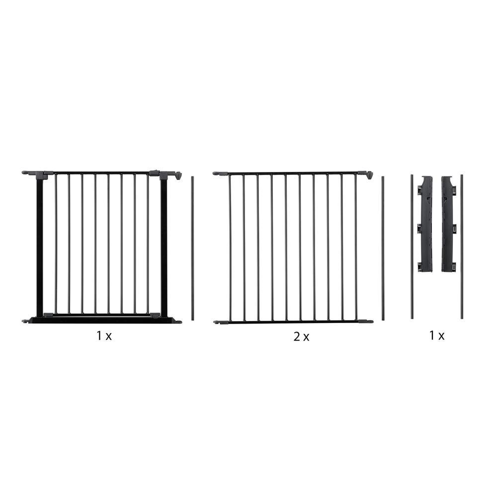 "Flex L Safety Gate 35.4"" - 87.8"", Black. Picture 1"