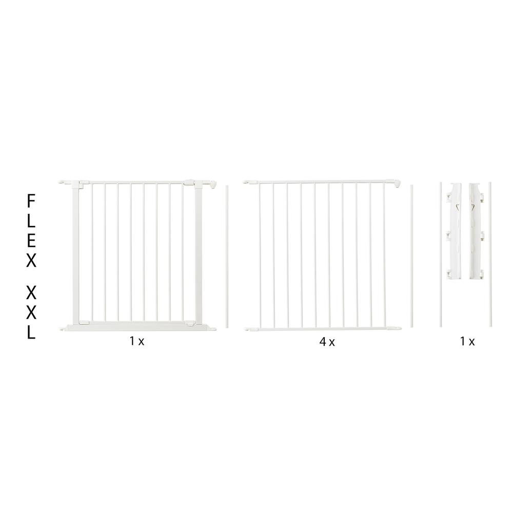 "Flex XXL Room Divider Safety Gate, Play Space 35.4"" - 138"", White. Picture 1"