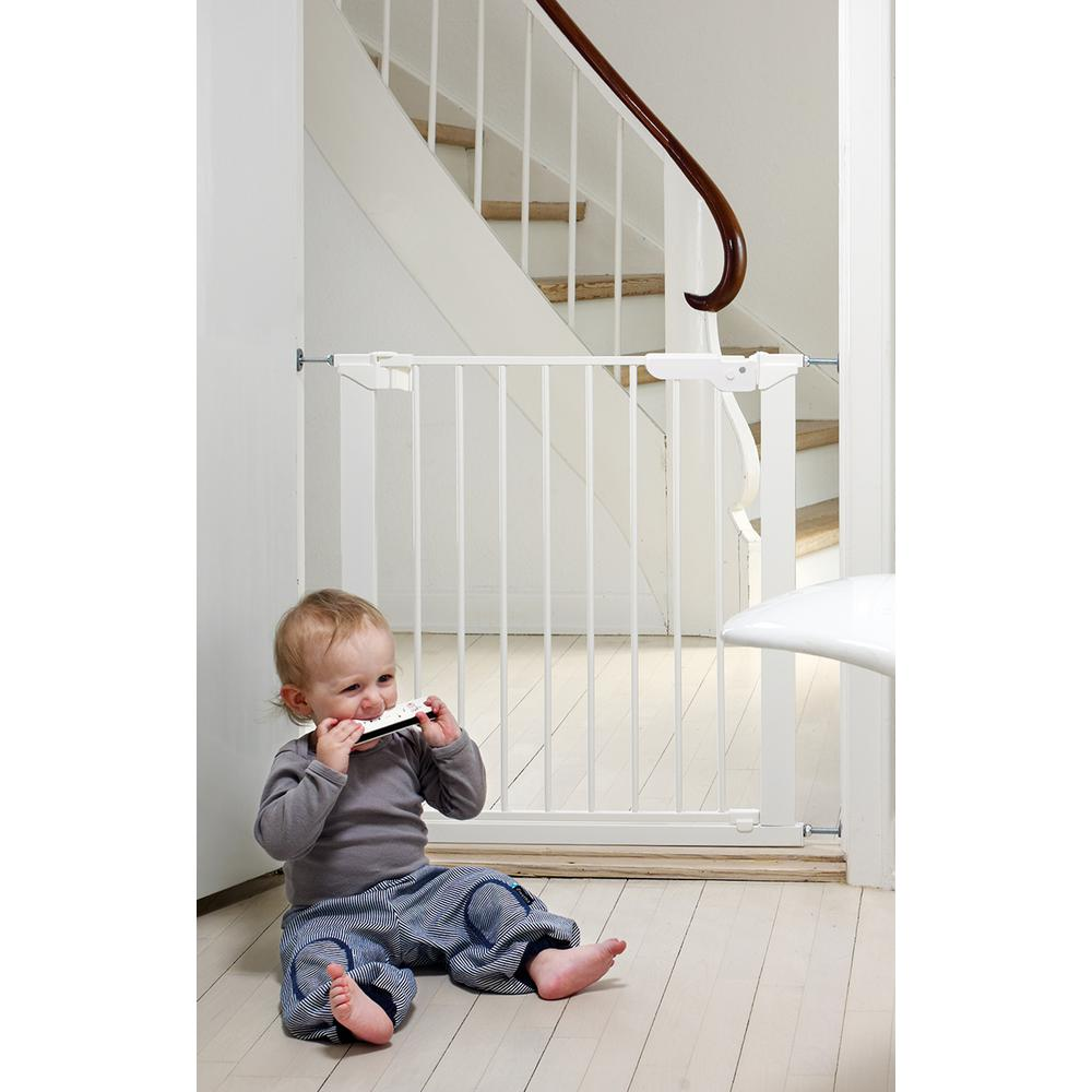 """Premier Pressure Mount Safety Gate with 2 Extensions 28.9"""" - 36.7"""", White. Picture 1"""