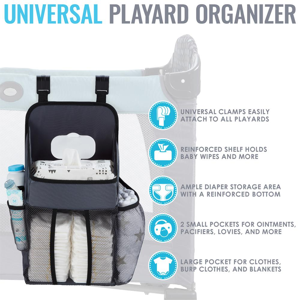 Universal Playard Nursery Organizer and Diapers Organizer | Baby Diaper Caddy for Baby's Essentials - Gray. Picture 5