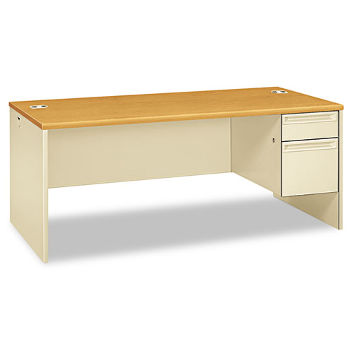 38000 Series Right Pedestal Desk, 72w x 36d x 29.5h, Harvest/Putty. Picture 1