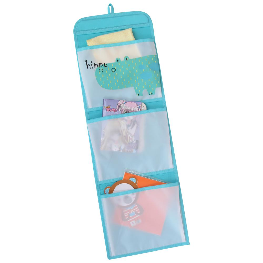 KIDS SAFARI Hippo Hanging Wall Pockets, Blue. Picture 1