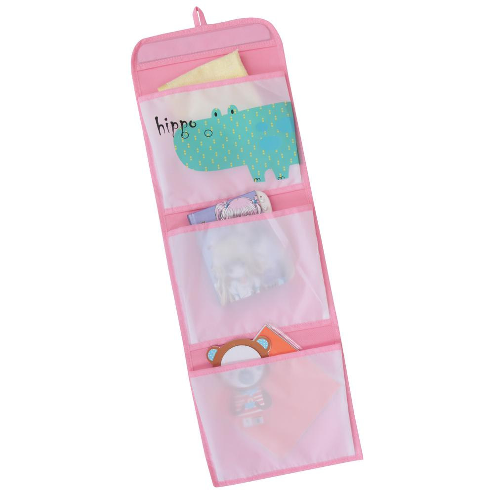 KIDS SAFARI Hippo Hanging Wall Pockets, Pink. Picture 1
