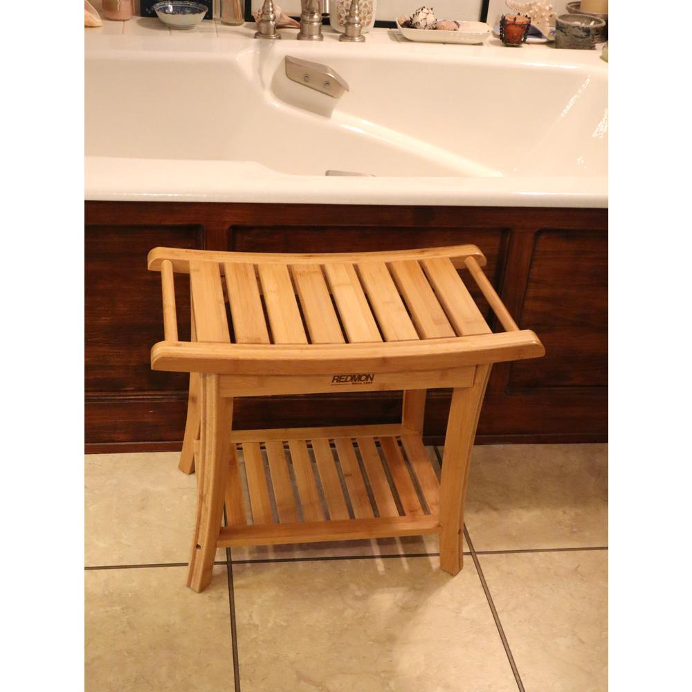 Bamboo Shower Bench w/Side Handles. Picture 1